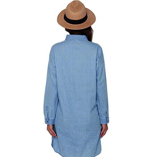 WOCACHI Frauen mit langen Ärmeln Cowboy Kleid Blau