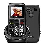 Seniorenhandy, Artfone Mobiltelefon Senioren-Handy Großtastenhandy ohne Vertrag mit großen Tasten 1.77 Zoll Farbdisplay Notruftaste Taschenlampe GSM Dual SIM Rentner Handy (mit Ladestation)