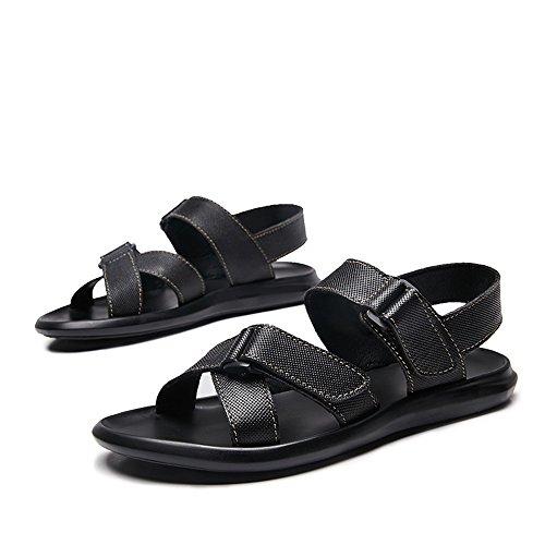 Herren Strandschuhe Schnalle Criss Cross Echtleder Vamp Soft Sohle Sandalen,für Männer (Color : Black, Size : 43 EU) - Herren-leder-criss Cross-sandalen