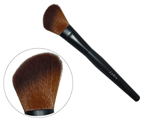 LyDia professional black angled long mineral face loose powder blusher cosmetic makeup brush F-09