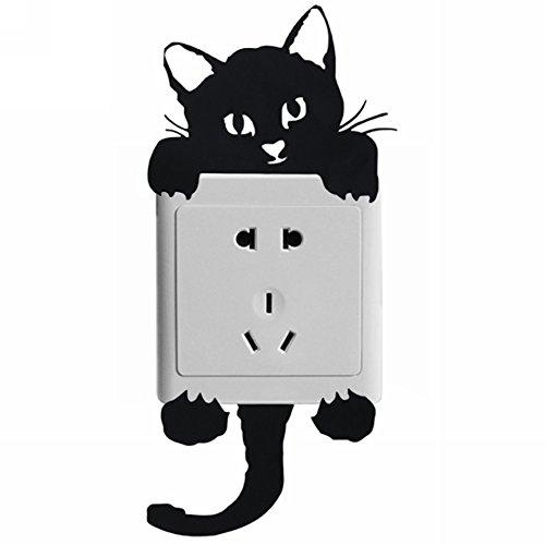 Pinzhi Lichtschalter Steckdosen Aufkleber Sticker Tattoo Wandtattoo Dekor (Schwarz Katze)