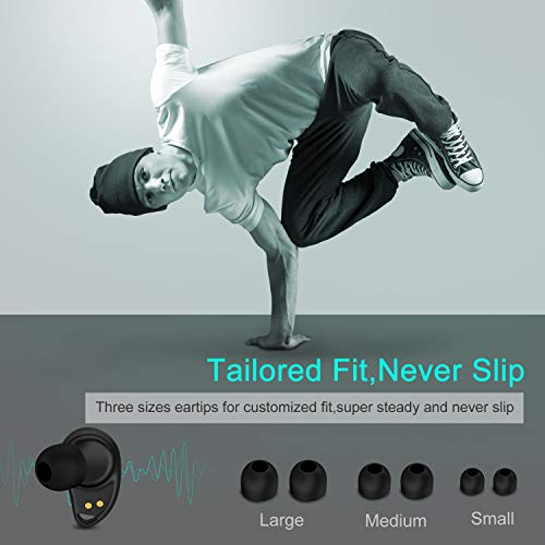 Arbily Bluetooth Kopfhörer Kabellos In Ear True Wireless Earbuds mit Portable Mini Ladebox,Bluetooth V5.0 Stereo Headset Sport Ohrhörer,Noise Cancelling Kopfhörer mit Mikrofon - 5