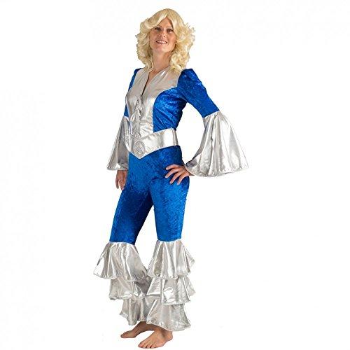 Abba Agnetha Kostüm - Krause & Sohn Kostüm Dancing Queen Agnetha Jumpsuit blau/Silber Fasching Musikerin 70s schwedische Band (40)