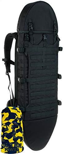 Wisport custodia per fucili + ultrapower fascia | astuccio tattico e robusto | borsa per softair | militare | caccia | cacciare | cordura | falcon, camuffamento:black
