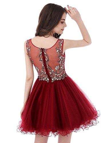 Sarahbridal Damen Kurz Abschlusskleider Tüll durchsichtig Rückenfrei mit Glanz Stein Ausschnitt Ballkleid Abendkleider SAJ032 Violett-142
