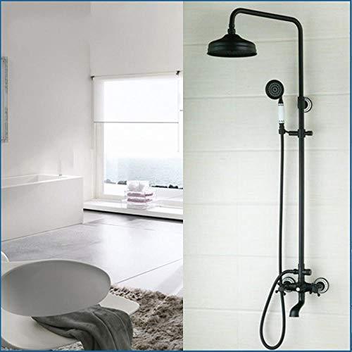 Gorheh Duschset Wandhalterung Öl Eingerieben Bronze 8 Zoll Messing Duschkopf + Keramik Heldhead Duscharmatur Badewanne Wasserfall Dusche (Eingerieben Duschkopf öl)