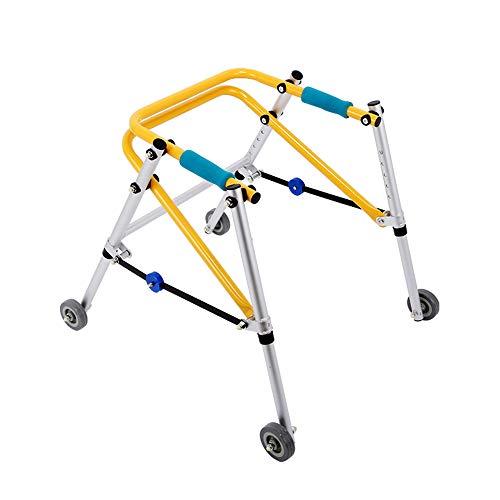 Zfggd andadores para niños Rehabilitación de Las extremidades Inferiores Andador de Entrenamiento Marco orientado para andadores Caminador de Cuatro Ruedas para niños (Tamaño : Pequeño)