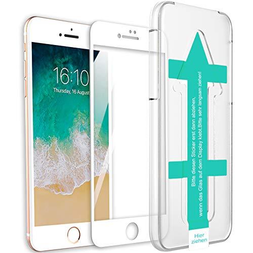 XeloTech 3D/4D Fullcover Panzerglas kompatibel mit iPhone 8/7 mit Schablone für perfekte Positionierung - Schützt komplettes Display - Full Cover Vollglas (Weiss) Full Cover