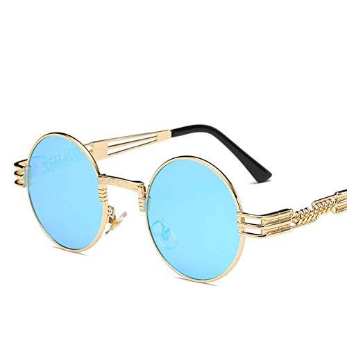 GEETAC Retro Sonnenbrille für Männer, Frauen, polarisiert 100% UV-Schutz John Lennon Steampunk Metallrahmen Runde Sonnenbrille,Blau