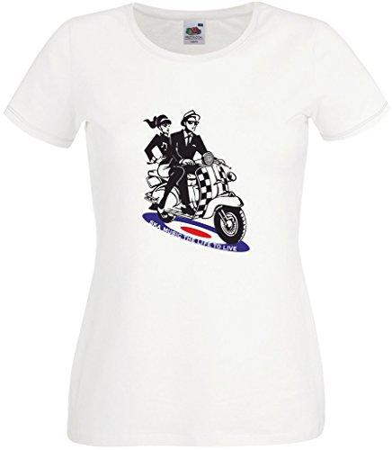 60s Mod Girl (RISKYT Damen T-Shirt Gr. Large, weiß)