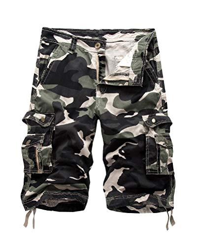 Onsoyours Bermuda Shorts Herren Sommer Kurze Hose Outdoor Casual Strandshorts Chino Cargo Shorts mit 6 Tasche Reine Farbe/Tarnung B Hell Armeegrün Medium 6 X Capri
