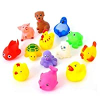 13PCS Cute Soft Rubber Float Sound FEITONG Kids Wash Bath Play Random Animals Color Cartoon Toys