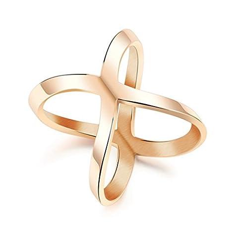 Bishilin Edelstahlring X Kreuz Ringe Rose Vergoldet Damen Jahrestag Bands Größe 49 (15.6) (Amethyst Hängende Uhr)