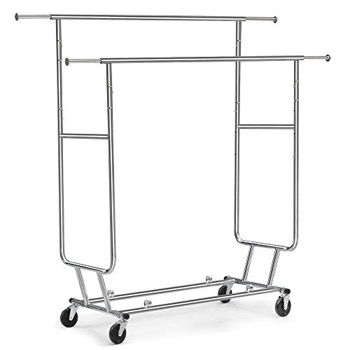 Commercial Garment Rack (Tangkula Commercial Grade Collapsible Clothing Rolling Double Garment Rack Hanger Holder by Tangkula)