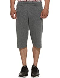 ELK Mens's Grey Cotton Three Fourth Shorts Capri Trouser Clothing Set