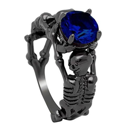 Anillo de hueso de calavera para hombre y mujer, diamantes de imitación, anillo de hueso para Halloween Punk