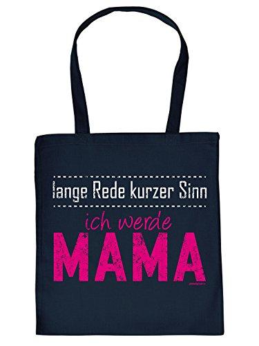 Werdende Mama Geschenk Tasche - Sprüche Baumwolltasche : lange Rede ... werde Mama -- Einkaufstasche Geschenktasche Mutter Farbe: navy-blau