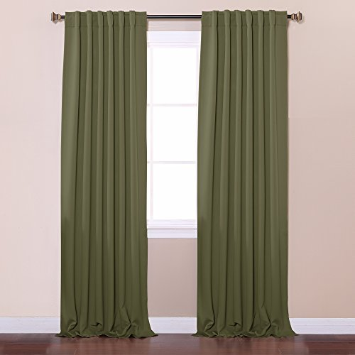 Best Home Fashion Thermal Insulated Blackout Curtains - Back Tab/ Rod Pocket - Olive - 52W x 84L - No tie backs (Set of 2 Panels) by Best Home Fashion (Tie-tab-panel)