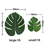 32 Stk. künstlich Blätter (16 stk 35*29 cm + 16 stk 20,5*17,5 cm) gefälschte Palmblatt Palme Monstera Kunstpflanze Floristik Basteln Deko für Hawaii Jungle Beach Dschungel Theme Party Dekorationen - 2