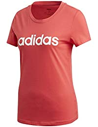 adidas W E Lin Slim T Camiseta de Manga Corta, Mujer, Core Pink/White, L
