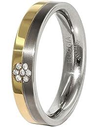 Boccia Unisex-Ring Titan teilvergoldet Diamant (0.035 ct) transparent Brillantschliff - 0129-06
