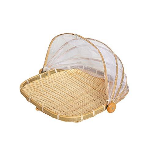 PORCN Handgewebter Bug Proof rechteckiger Korb staubdichter Picknickkorb handgemachtes Obst Gemüse Brot Abdeckung Weidenkorb mit Gaze, 39 * 39cmcm - Gaze-abdeckung