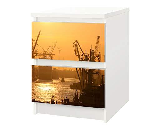 Set Möbelaufkleber für Ikea Kommode MALM 2 Fächer/Schubladen Hamburger Hafen Sonnenaufgang Kat15 Hamburg Skyline Aufkleber Möbelfolie sticker (Ohne Möbel) Folie 25F242