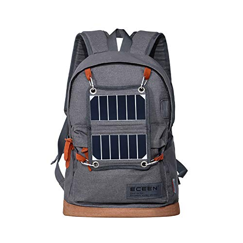 ROWERR Solar Backpack-Waterproof Anti-Theft Solar Power Fast Charging Camping & Hiking Daypack mit 3.25W Solar Panel Charger für Smart Cell Phones und Tablets, GPS, Powerbank, Bluetooth Speakers,Gray