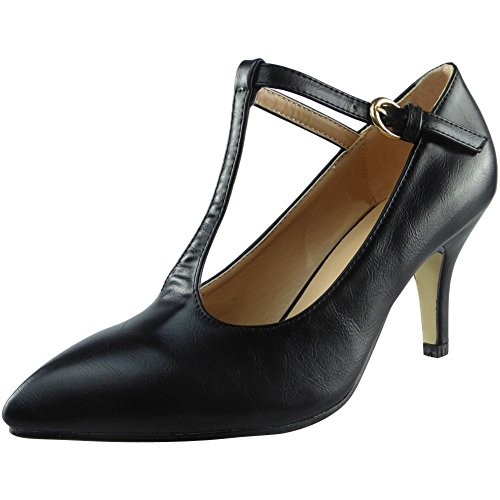 593e77d91ffc Womens Ladies T-Bar Mid Kitten Heel Casual Office Work Pointed Toe Shoes.