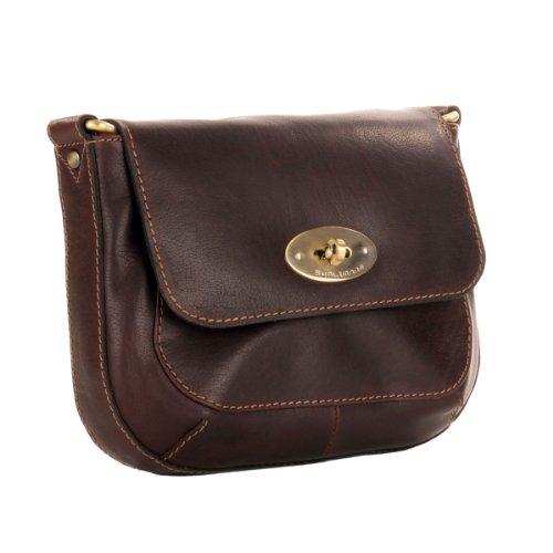 Edle kleine Damen Handtasche aus gewachstem Leder von Shalimar Dunkelbraun