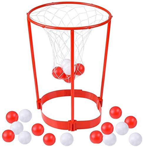 MIK funshopping Basketball-Spiel Basketballkorb Partyspiel Wurfspiel Outdoor-Spiel Hoop Star Geschicklichkeits-Spielzeug für den Kopf mit 20 Bällen