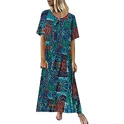 Femme Robe Longue ,OIKAY Robe Maxi imprimée à Manches Courtes et à col en V pour Femmes