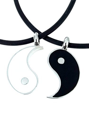 Saga Gioielli - Collar con motivo de Yin Yang, mejores amigos, de acero, con caja para regalo