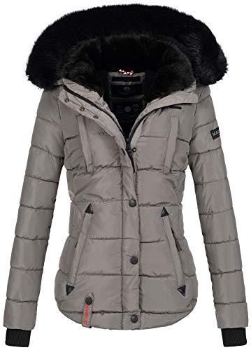 Marikoo warme Damen Winter Jacke Winterjacke Steppjacke gefüttert Kunstfell B618 [B618-Lotus-Grau-Gr.M]