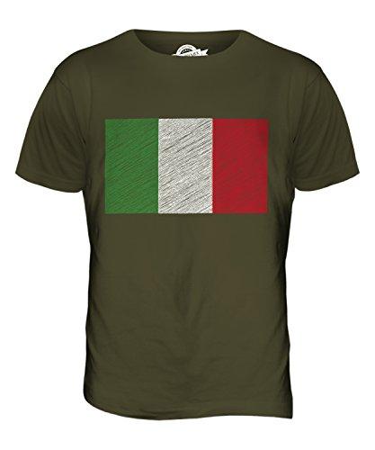 CandyMix Italia Bandiera Scarabocchio T-Shirt da Uomo Maglietta Verde oliva