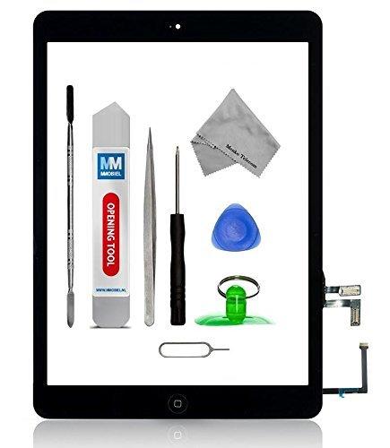 MMOBIEL Digitalizador Pantalla táctil frontal para IPAD Air (Negro) Incluye botón de inicio y cable flex soporte cámara adhesivos pre instalados kit profesional de herramientas para una fácil instalación.