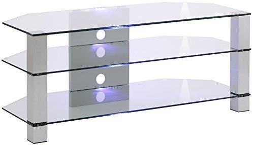 MAJA Möbel TV-Rack, Glas, Metall Alu - Klarglas, 120,00 x 50,00 x 50,00 cm