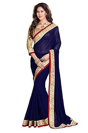 Janasya Chiffon Saree (Jne0552.N_Colour-Blue)