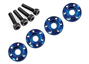 Traxxas 7668 - Arandela para Tuercas de Rueda, Aluminio mecanizado, Azul, 3 x 12 mm, CS (4)