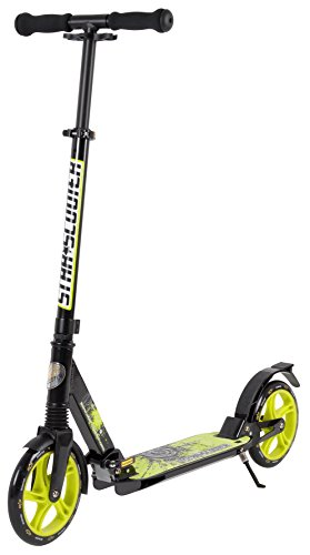 STAR-SCOOTER Patinete Patineta Scooter Plegable para niños y niñas a Partir de 6-7 años y Adultos para Ciudad | 205 mm Edicion con suspensión Completa | Negro & Verde