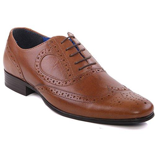Unze Hommes 'Carlow' Brogue en cuir Lace Up Chaussures Grande-Bretagne Taille 7-11 Bronzage