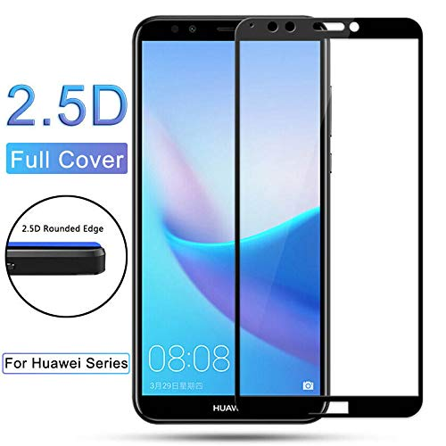 Panzerglas Schutzfolie Film,HD Screen Protector Tempered Glass for Y3 Y5 Y6 Y7 Y9 New Y5 Y6 Y7 Prime Pro Colorful Full Cover Film for Y7 2017 White -
