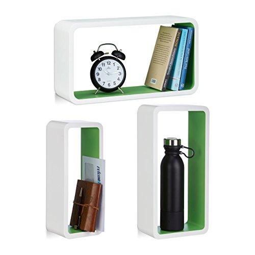 Relaxdays 10021790_252 set 3 mensole a muro, laccato opaco, decorative, varie misure, capacità di carico 10 kg, bianco-verde