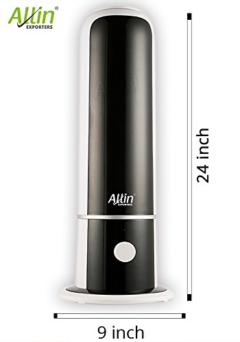Allin Exporters 4 Liters Tank Capacity, Heavy Duty Tower Shape Cool Mist Ultrasonic Humidifier Negative Ion Generator Air Purifier, Mist Level Control, Automatic Shut-off, Whisper-quiet Operation, For Big Size Rooms