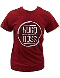 0dc84889f Hugo Boss BOSS Athleisure Quality and Innovation Red Round Text Logo T-Shirt