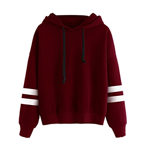 Women Fashion Swearshirt,Malloom Long Sleeve Hoodie Sweatshirt Jumper Hooded Pullover Tops Blouse (L, Red)