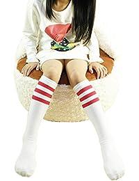 Butterme Unisex Bebé Niños Niñas Niños Algodón Rodilla Alta Classic Triple rayas Tubo Largo Calcetines Calcetines Deportes calcetines para 1–3años Niños blanco White + Red Stripe M for 4-15 Years