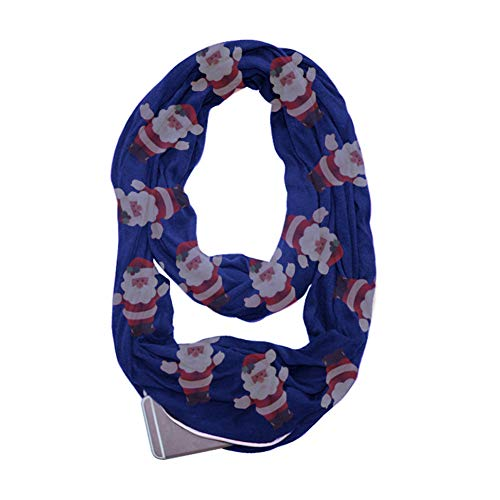 Taschenschal, Infinity Schal Santa Versteckte Reißverschluss Aufbewahrungstasche für Smartphone Lippenstift Passport, leichte Travel Wrap Lätzchen,Blue (Santa Schal)