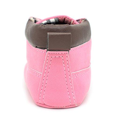 Gaorui Babýs Kleinkind Lauflernschuhe Krabbelschuhe Puschen aus weich Leder Schnür Hightop Rosa Rosa