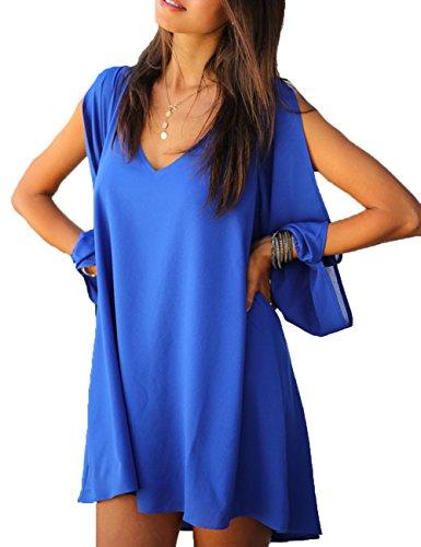 Junshan Robe été Femme Chemise Col V Mousseline Lâche Soie Loose A-robes Mode Dames Tunique Blouse Mini Bleu